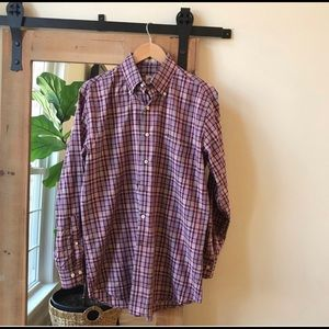 Peter Millar Purple Plaid Button Down Shirt